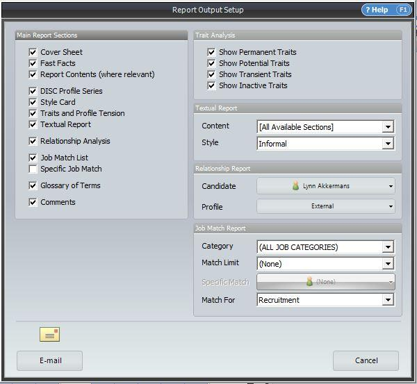 The Discus 4 Report Ouput Setup dialog