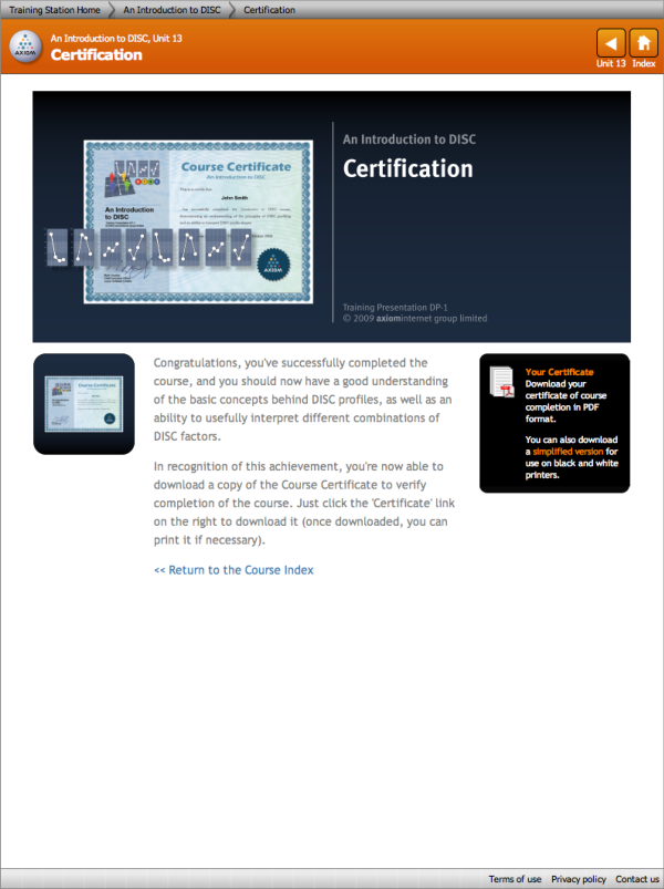 DISC Certification Screenshot: Certification